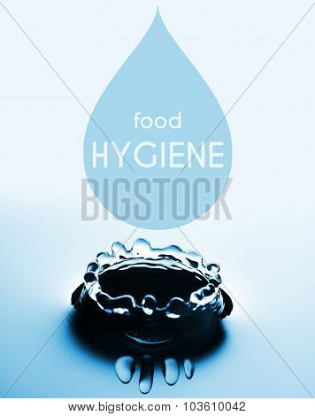 Food Hygiene Concept With Water Drop And Splash