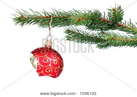Broken Christmas Decoration Hanging On A Tree