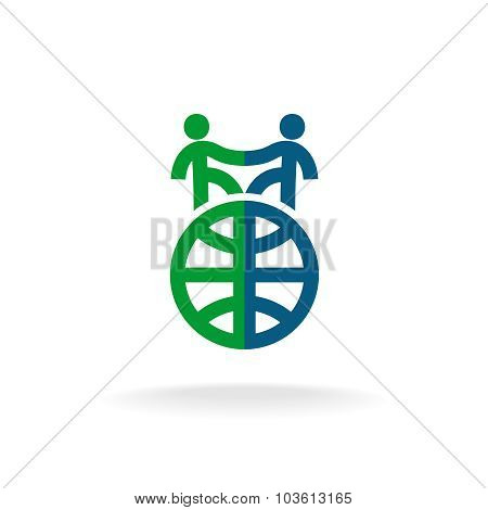 Foreign languages school logo template. Two people handshake on the Earth globe silhouettes. poster