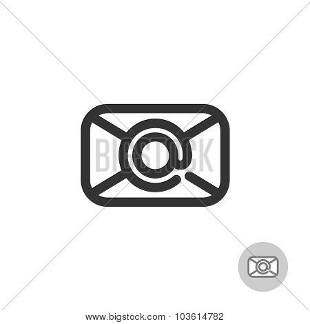 Simple Mail Icon With At Symbol As A Centered Stamp