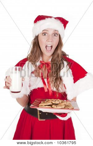 Mrs Santa Excited Cookies Milk