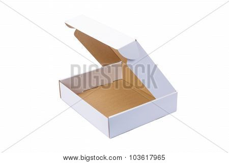White Cardboard Box Or Paper Box Isolated On White Background