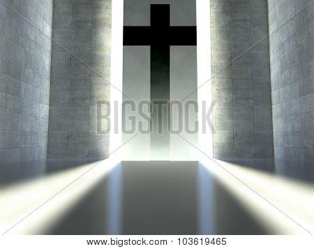 Christian Cross On Wall, Concept Of Faith