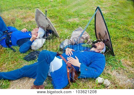 Two Knights Asleep Before Battle