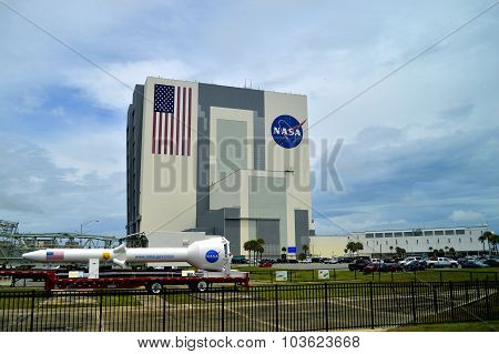 Cape Canaveral, Florida, USA - May 6, 2015 Orion rocket in Kennedy Space Centre