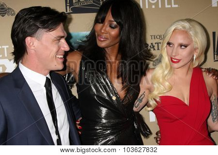 LOS ANGELES - OCT 3:  Finn Wittrock, Naomi Campbell, Lady Gaga at the