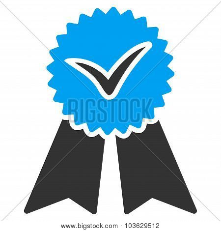 Approvement vector icon. Style is bicolor flat symbol, blue and gray colors, rounded angles, white background. poster