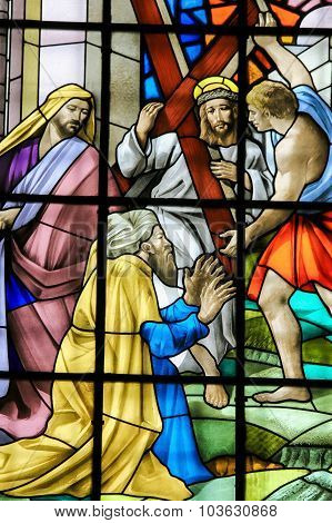 Jesus On The Via Dolorosa - Stained Glass