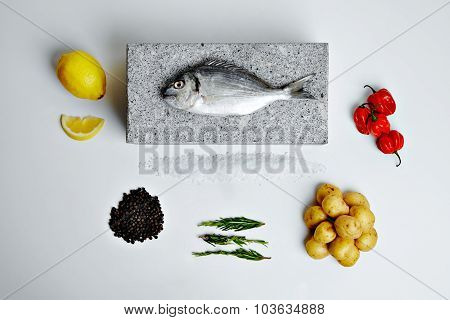 Dorada Fish With Aromatic Herbs, Spices And Vegetables - Healthy Food, Diet Or Cooking Concept Top V