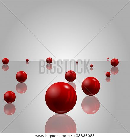 Abstract 3D Background With Red Balls, Eps 10 Vector Design.