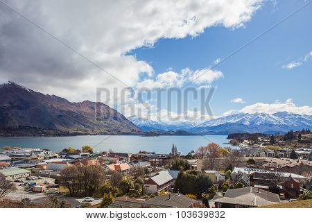 Beautiful Top View Land Scape Of Lake Wanaka Town In Cloudy Day Spring Season South Island New Zeala