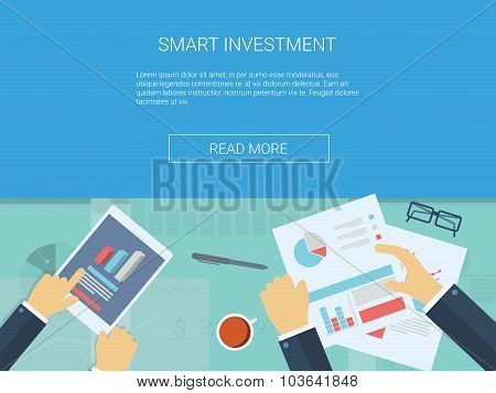 Investment infographics vector background. Business analysis wallpaper with symbols, graphs, charts.