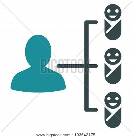 Children Links vector icon. Style is bicolor flat symbol, soft blue colors, rounded angles, white background. poster