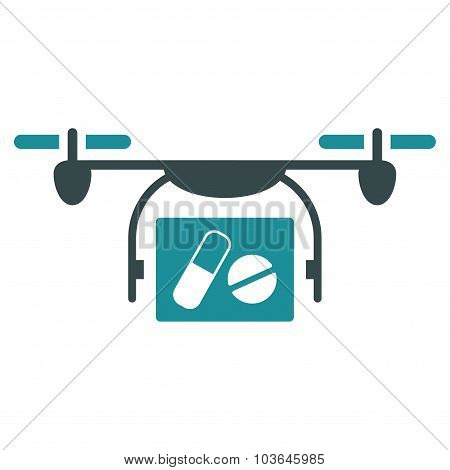 Medical Quadcopter vector icon. Style is bicolor flat symbol, soft blue colors, rounded angles, white background. poster
