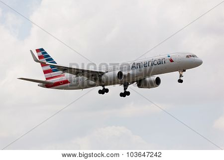 MIAMI, USA - JUNE 2, 2015: Boeing 757 American Airline approaching the Miami International Airport.