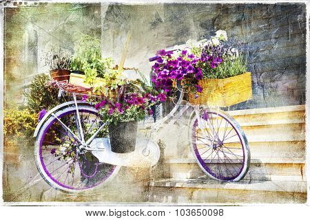 romantic cards - floral bike, artwork in painting style
