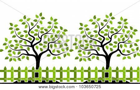 Trees Behind Fence Border