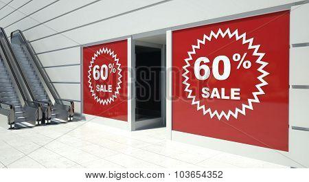 60 Percent Sale On Shopfront Windows And Escalator