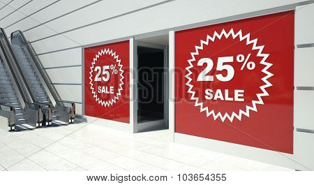 25 Percent Sale On Shopfront Windows And Escalator