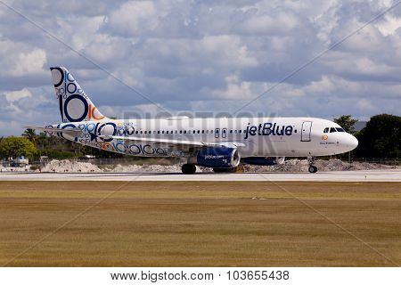 A320 JetBlue with special 10 years anniversary livery at the Fort Lauderdale Airport.