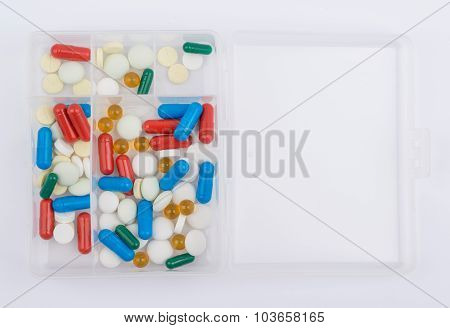 Tablets and capsules for medicines glass box