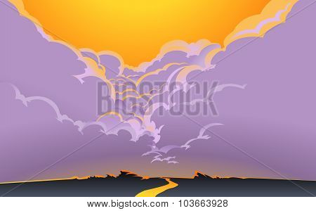 The road into clouds.Poster.Postcard.Background