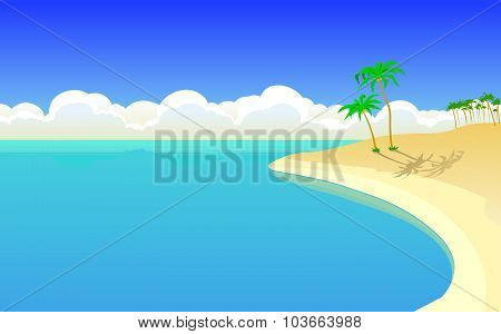 The beautiful island in the ocean. Poster. Postcard. Background.