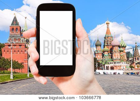 Smartphone And Vasilevsky Descent In Moscow