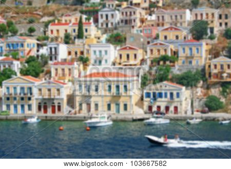 Greece. Island Symi. In Blur Style