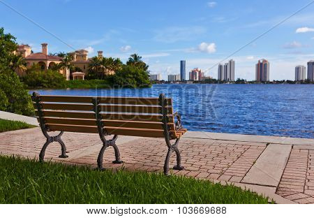 Wooden bench beautiful view on the sea and city