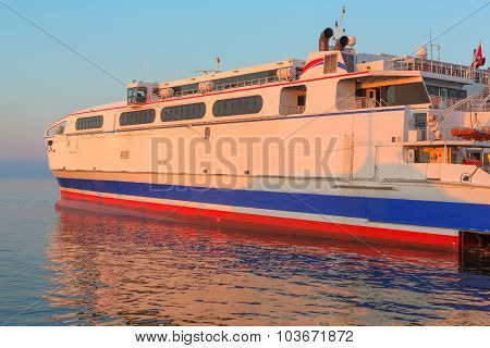 Ferryboat in the sea, close up view on broadside