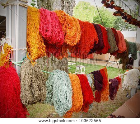 Freshly Dyed Wool Yarn