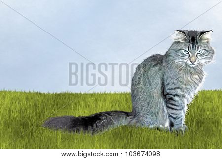 Annoyed Cat in Grass