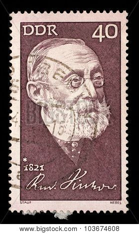 GDR - CIRCA 1971: A stamp printed in GDR shows The 150th Anniversary of the Birth of Rudolf Virchow. Anthropologist , circa 1971