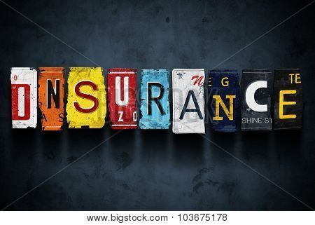 Insurance Word On Vintage Car License Plates, Concept Sign