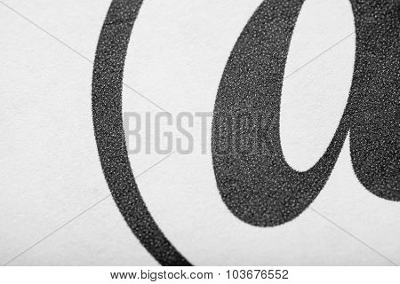 Close Up Of Part Of Print Letter Typography Macro