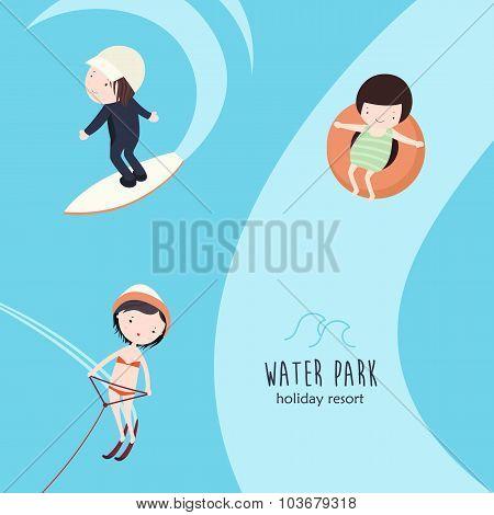 Aquapark Activities Vector Set