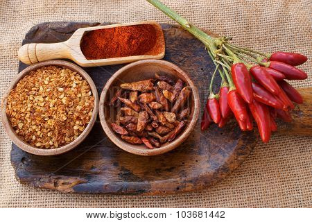 Chili Pepper, Fresh, Dried, Crushed And As Powder