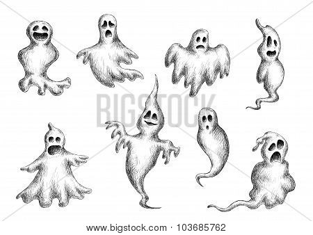 Halloween flying spooks and ghosts