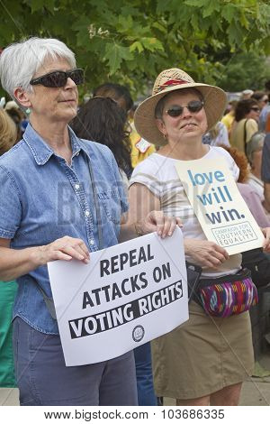 Moral Monday Voting Rights And Love Signs
