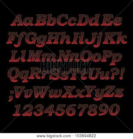 Lava font, Sizzling hot alphabet letters and digits with cracks