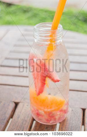 Infused Water Bottle Of Mix Fruit Refreshing Drink