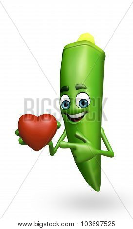 Cartoon Character Of Ladyfinger With Heart