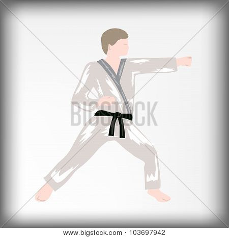 The karateka, the athlete, a punch, a combative rack, the person in a kimono