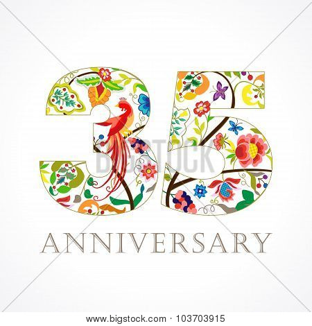 35 years old luxurious celebrating folk logo. Template colored 35 th happy anniversary greetings, ethnics flowers, plants, paradise birds. Traditional decorative congratulation in various colors.