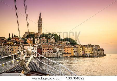 Sail Boat And Charming Rovinj, Croatia