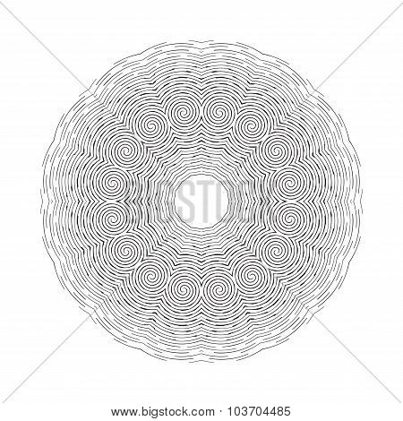 Round ornamental vector shape, black pattern isolated on white