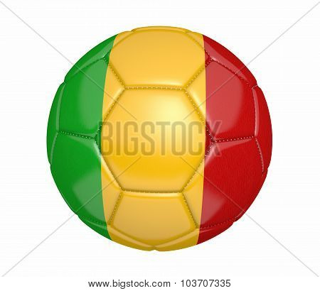 Football, also known as a soccer ball, with the national flag colors of Mali