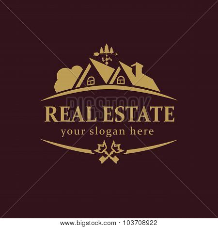 Real-estate vector logo. House for sale or build sign template. Agency, lease, sell, buy, invest or landscaping business identity. Country house luxurious abstract vintage symbol gold colored.