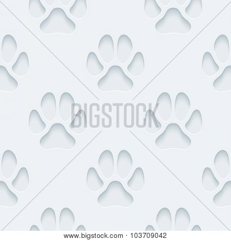 Paw print. White perforated paper with cut out effect. 3d seamless background.